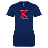 Next Level Ladies SoftStyle Junior Fitted Navy Tee-K Tornado
