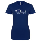 Next Level Ladies SoftStyle Junior Fitted Navy Tee-King University
