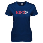Ladies Navy T Shirt-King Tornado w/Tornado