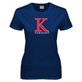 Ladies Navy T Shirt-K Tornado