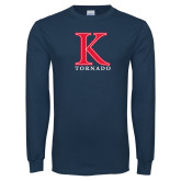 Navy Long Sleeve T Shirt-K Tornado