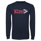 Navy Long Sleeve T Shirt-Bass Fishing