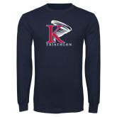 Navy Long Sleeve T Shirt-Triathlon Vertical