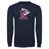Navy Long Sleeve T Shirt-ESports Vertical