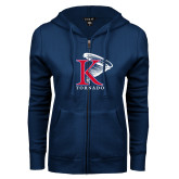 ENZA Ladies Navy Fleece Full Zip Hoodie-K Tornado w/Tornado