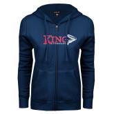 ENZA Ladies Navy Fleece Full Zip Hoodie-King Tornado w/Tornado