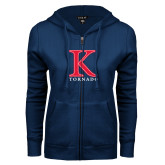 ENZA Ladies Navy Fleece Full Zip Hoodie-K Tornado