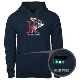 Contemporary Sofspun Navy Heather Hoodie-K Tornado w/Tornado