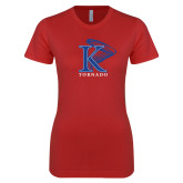 Next Level Ladies SoftStyle Junior Fitted Red Tee-K Tornado w/Tornado