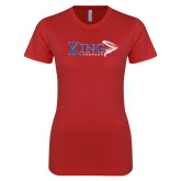 Next Level Ladies SoftStyle Junior Fitted Red Tee-King Tornado w/Tornado