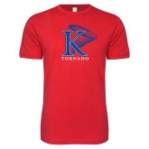 Next Level SoftStyle Red T Shirt-K Tornado w/Tornado