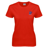 Ladies Red T Shirt-K Tornado w/Tornado
