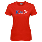 Ladies Red T Shirt-King Tornado w/Tornado