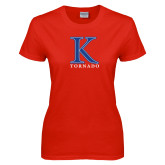 Ladies Red T Shirt-K Tornado