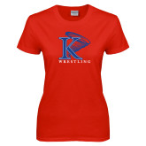 Ladies Red T Shirt-Wrestling