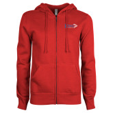 ENZA Ladies Red Fleece Full Zip Hoodie-King Tornado w/Tornado
