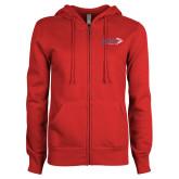 ENZA Ladies Red Fleece Full Zip Hoodie-King Tornado w/Tornado