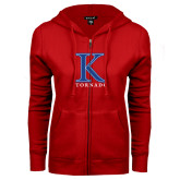 ENZA Ladies Red Fleece Full Zip Hoodie-K Tornado