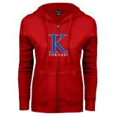 ENZA Ladies Red Fleece Full Zip Hoodie-K Tornado