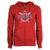 ENZA Ladies Red Fleece Full Zip Hoodie-2018 Softball Champions