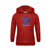 Youth Red Fleece Hoodie-K Tornado w/Tornado