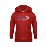 Youth Red Fleece Hoodie-King Tornado w/Tornado