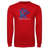 Red Long Sleeve T Shirt-Triathlon Vertical