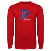 Red Long Sleeve T Shirt-Bass Fishing Vertical