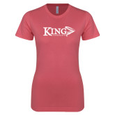 Next Level Ladies SoftStyle Junior Fitted Pink Tee-King Tornado w/Tornado