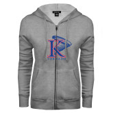 ENZA Ladies Grey Fleece Full Zip Hoodie-K Tornado w/Tornado