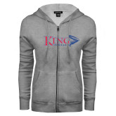 ENZA Ladies Grey Fleece Full Zip Hoodie-King Tornado w/Tornado