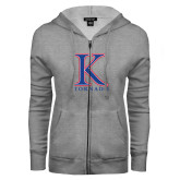 ENZA Ladies Grey Fleece Full Zip Hoodie-K Tornado