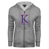 ENZA Ladies Grey Fleece Full Zip Hoodie-K Tornado