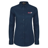 Ladies Navy Twill Button Down Long Sleeve-King Tornado w/Tornado