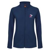 Ladies Fleece Full Zip Navy Jacket-K Tornado w/Tornado