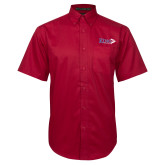 Red Twill Button Down Short Sleeve-King Tornado w/Tornado