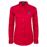 Ladies Red Twill Button Down Long Sleeve-K Tornado w/Tornado