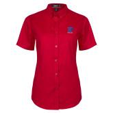 Ladies Red Twill Button Up Short Sleeve-K Tornado w/Tornado