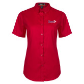 Ladies Red Twill Button Up Short Sleeve-King Tornado w/Tornado
