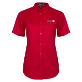 Ladies Red Twill Button Up Short Sleeve-King Tornado w/Tornado