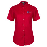 Ladies Red Twill Button Up Short Sleeve-King University