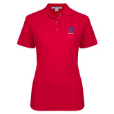 Ladies Easycare Red Pique Polo-K Tornado w/Tornado