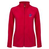 Ladies Fleece Full Zip Red Jacket-K Tornado w/Tornado