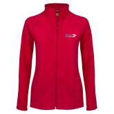 Ladies Fleece Full Zip Red Jacket-King Tornado w/Tornado