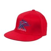 Red OttoFlex Flat Bill Pro Style Hat-K Tornado w/Tornado