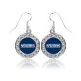 Crystal Studded Round Pendant Silver Dangle Earrings-Keiser University Seahawks