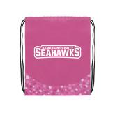 Nylon Pink Bubble Patterned Drawstring Backpack-Keiser University Seahawks