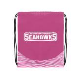 Nylon Zebra Pink/White Patterned Drawstring Backpack-Keiser University Seahawks