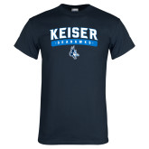 Navy T Shirt-Arched Keiser Seahawks