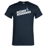 Navy T Shirt-Slashed and Slanted Keiser Seahawks